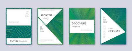 Stylish brochure design template set. Green abstract lines on dark background. Beautiful brochure design. Delightful catalog, poster, book template etc. Foto de archivo - 123241304