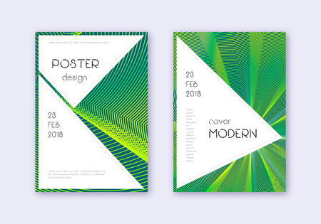 Stylish cover design template set. Green abstract lines on dark background. Fancy cover design. Fair catalog, poster, book template etc. Foto de archivo - 123241305