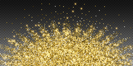 Sparkling gold luxury sparkling confetti. Scattered small gold particles on trasparent background. Alive festive overlay template. Enchanting vector illustration.