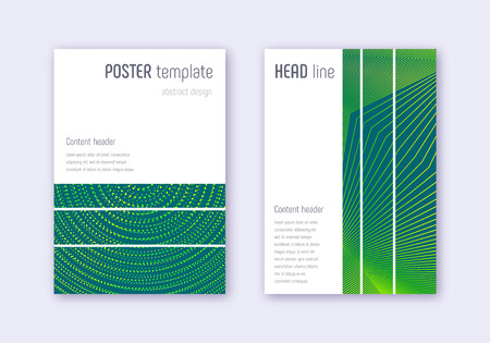 Geometric cover design template set. Green abstract lines on dark background. Beautiful cover design. Perfect catalog, poster, book template etc. Foto de archivo - 123174947