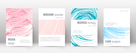 Cover page design template. Minimalistic brochure layout. Comely trendy abstract cover page. Pink and blue grunge texture background. Astonishing poster. Foto de archivo - 123174951