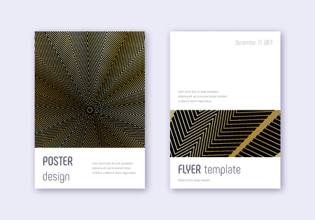 Minimalistic cover design template set. Gold abstract lines on black background. Dramatic cover design. Wonderful catalog, poster, book template etc.
