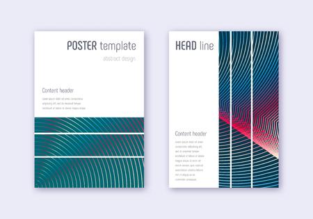 Geometric cover design template set. Red white blue abstract lines on dark background. Bizarre cover design. Surprising catalog, poster, book template etc. Foto de archivo - 123174956