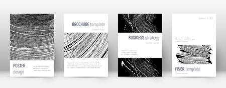 Cover page design template. Minimalistic brochure layout. Classic trendy abstract cover page. Black and white grunge texture background. Perfect poster. Foto de archivo - 123111584