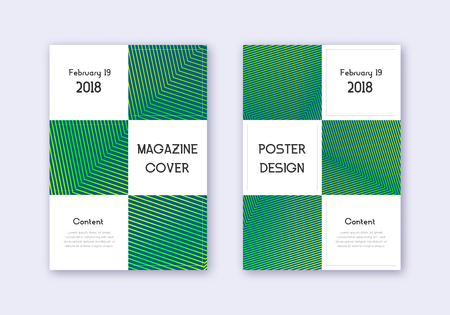 Business cover design template set. Green abstract lines on dark background. Authentic cover design. Exceptional catalog, poster, book template etc. Foto de archivo - 123111587