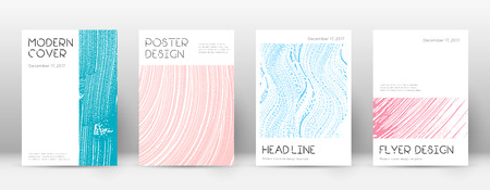 Cover page design template. Minimal brochure layout. Classic trendy abstract cover page. Pink and blue grunge texture background. Bewitching poster. Foto de archivo - 123111588