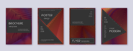 Black brochure design template set. Orange abstract lines on wine-red background. Actual brochure design. Wonderful catalog, poster, book template etc.