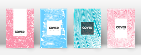 Cover page design template. Hipster brochure layout. Brilliant trendy abstract cover page. Pink and blue grunge texture background. Delicate poster. Foto de archivo - 123067188