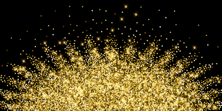 Sparkling gold luxury sparkling confetti. Scattered small gold particles on black background. Alive festive overlay template. Eminent vector illustration. Illustration