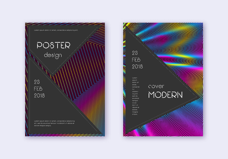Black cover design template set. Rainbow abstract lines on wine red background. Adorable cover design. Impressive catalog, poster, book template etc.