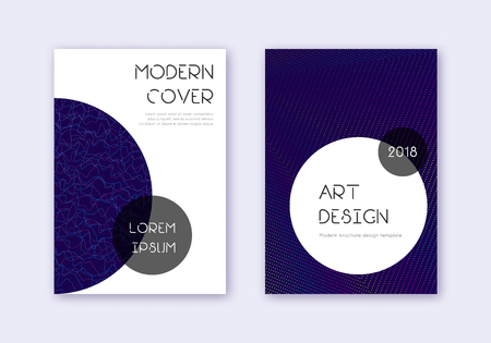 Trendy cover design template set. Rainbow abstract lines on dark blue background. Graceful cover design. Pleasing catalog, poster, book template etc. Foto de archivo - 123067221