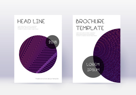 Trendy cover design template set. Violet abstract lines on dark background. Good-looking cover design. Magnificent catalog, poster, book template etc. Foto de archivo - 123067222