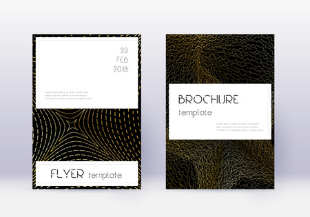 Stylish cover design template set. Gold abstract lines on black background. Fascinating cover design. Unique catalog, poster, book template etc. 일러스트