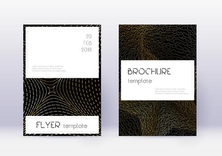 Stylish cover design template set. Gold abstract lines on black background. Fascinating cover design. Unique catalog, poster, book template etc. Ilustração