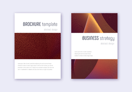 Minimalistic cover design template set. Orange abstract lines on wine red background. Enchanting cover design. Resplendent catalog, poster, book template etc.