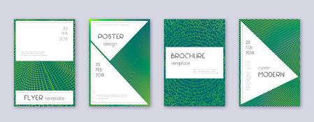 Stylish brochure design template set. Green abstract lines on dark background. Beautiful brochure design. Exceptional catalog, poster, book template etc. Foto de archivo - 123025685