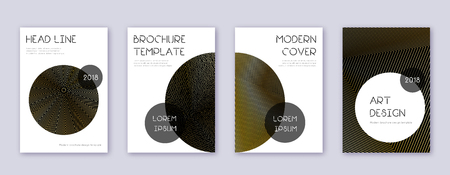 Trendy brochure design template set. Gold abstract lines on black background. Bewitching brochure design. Magnificent catalog, poster, book template etc. Foto de archivo - 123025689