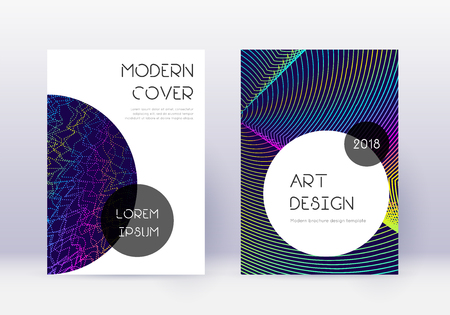Trendy cover design template set. Rainbow abstract lines on dark blue background. Graceful cover design. Ravishing catalog, poster, book template etc.