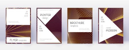 Stylish brochure design template set. Gold abstract lines on bordo background. Beautiful brochure design. Classic catalog, poster, book template etc. Foto de archivo - 123025695