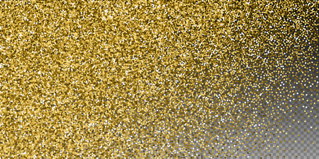 Round gold glitter luxury sparkling confetti. Scattered small gold particles on transparent background. Captivating festive overlay template. Delicate vector illustration.