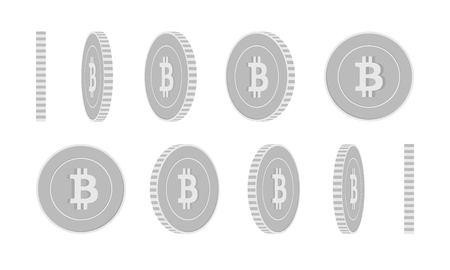 Bitcoin, internet currency rotating coins set, animation ready. Black and white BTC silver coins rotation. Cryptocurrency, digital metal money. Sublime cartoon vector illustration. Illusztráció