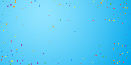 Festive confetti. Celebration stars. Joyous stars on blue sky background. Ecstatic festive overlay template. Perfect vector illustration. Ilustração