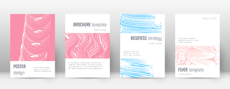 Cover page design template. Minimalistic brochure layout. Comely trendy abstract cover page. Pink and blue grunge texture background. Alive poster.