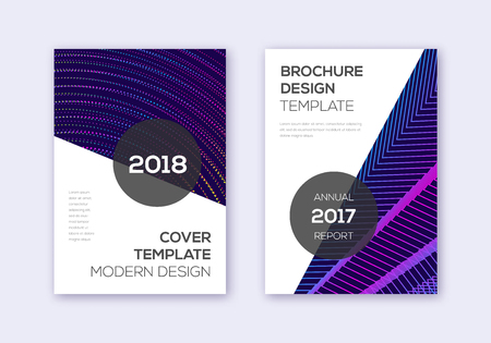 Modern cover design template set. Rainbow abstract lines on dark blue background. Extraordinary cover design. Stylish catalog, poster, book template etc. Illusztráció