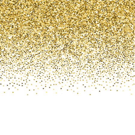 I triangoli d'oro brillano coriandoli scintillanti di lusso. Piccole particelle d'oro sparse su sfondo bianco. Modello di sovrapposizione festivo seducente. Rara illustrazione vettoriale.