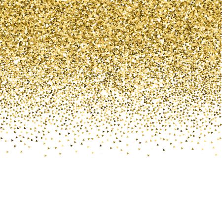 Triángulos de oro brillan confeti brillante de lujo. Pequeñas partículas de oro dispersas sobre fondo blanco. Plantilla de superposición festiva seductora. Ilustración vectorial rara.