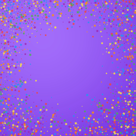 Festive confetti. Celebration stars. Rainbow bright stars on bright purple background. Cool festive overlay template. Beauteous vector illustration.  イラスト・ベクター素材