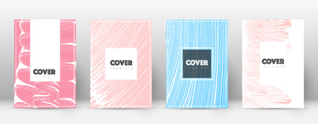 Cover page design template. Hipster brochure layout. Brilliant trendy abstract cover page. Pink and blue grunge texture background. Fresh poster.