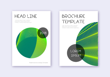 Trendy cover design template set. Green abstract lines on dark background. Fresh cover design. Awesome catalog, poster, book template etc.