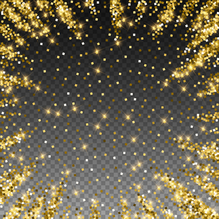 Sparkling gold luxury sparkling confetti. Scattered small gold particles on trasparent background. Adorable festive overlay template. Pretty vector illustration.
