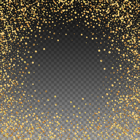 Gold confetti luxury sparkling confetti. Scattered small gold particles on transparent background. Appealing festive overlay template. Radiant vector illustration.