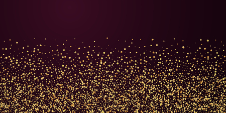 Gold stars luxury sparkling confetti. Scattered small gold particles on red maroon background. Brilliant festive overlay template. Classic vector illustration. Illustration