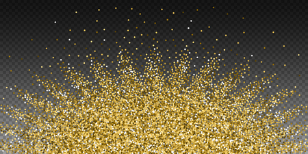 Round gold glitter luxury sparkling confetti. Scattered small gold particles on transparent background. Authentic festive overlay template. Stunning vector illustration.