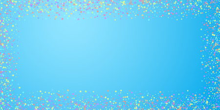 Festive confetti. Celebration stars. Colorful stars on blue sky background. Delightful festive overlay template. Excellent vector illustration.