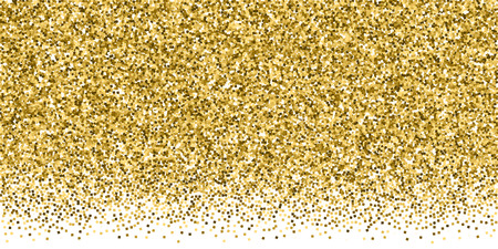 Gold glitter luxury sparkling confetti. Scattered small gold particles on white background. Breathtaking festive overlay template. Popular vector illustration.