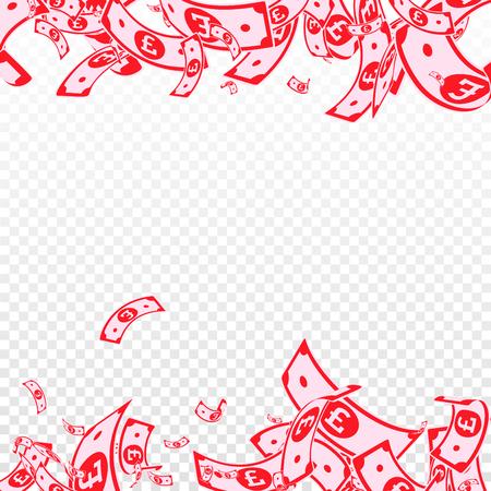 Billets en livre sterling en baisse. Factures GBP malpropres sur fond transparent. L'argent du Royaume-Uni. Illustration vectorielle attrayante. Joli jackpot, richesse ou concept de réussite. Vecteurs
