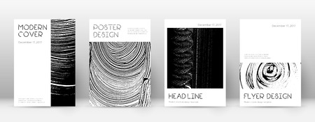 Cover page design template. Minimal brochure layout. Captivating trendy abstract cover page. Black and white grunge texture background. Perfect poster.
