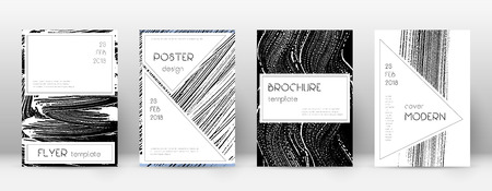 Cover page design template. Stylish brochure layout. Creative trendy abstract cover page. Black and white grunge texture background. Ecstatic poster.