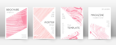 Cover page design template. Triangle brochure layout. Classy trendy abstract cover page. Pink and blue grunge texture background. Positive poster.
