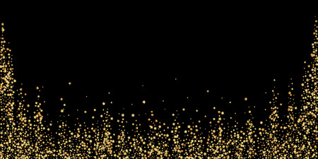 Gold stars luxury sparkling confetti. Scattered small gold particles on black background. Beautiful festive overlay template. Bold vector illustration. Illustration