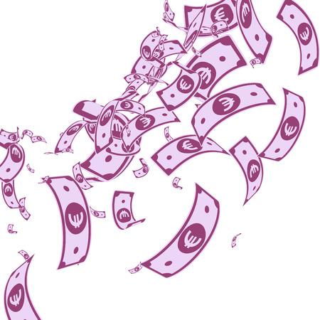 European Union Euro notes falling. Messy EUR bills on white background. Europe money. Amusing vector illustration. Fantastic jackpot, wealth or success concept. Ilustrace