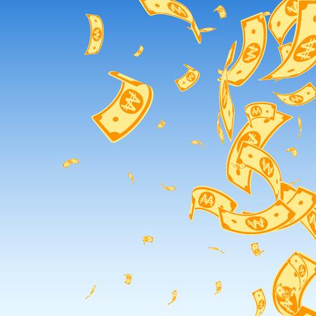 Korean won notes falling. Random WON bills on blue sky background. Korea money. Decent vector illustration. Actual jackpot, wealth or success concept. Фото со стока - 121948678