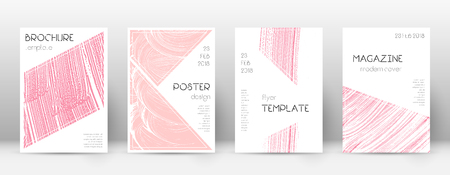Cover page design template. Triangle brochure layout. Classy trendy abstract cover page. Pink and blue grunge texture background. Fancy poster.