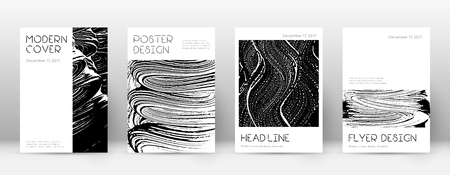 Cover page design template. Minimal brochure layout. Captivating trendy abstract cover page. Black and white grunge texture background. Impressive poster.