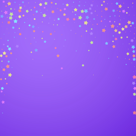 Festive confetti. Celebration stars. Colorful stars random on bright purple background. Captivating festive overlay template. Good-looking vector illustration.