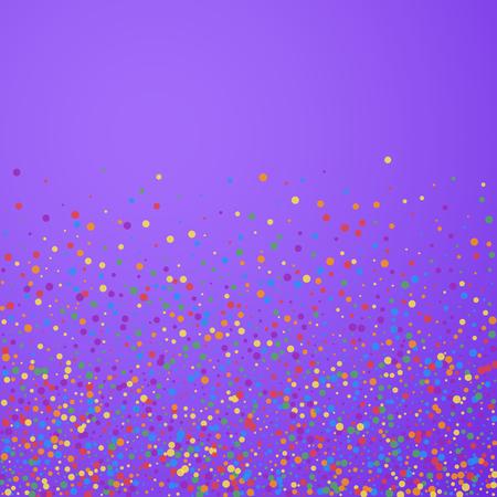Festive confetti. Celebration stars. Rainbow confetti on bright purple background. Classy festive overlay template. Impressive vector illustration.